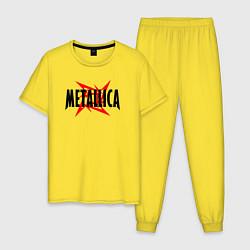 Пижама хлопковая мужская Metallica logo цвета желтый — фото 1