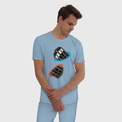 Пижама хлопковая мужская Tardis Portal цвета мягкое небо — фото 2