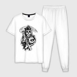 Пижама хлопковая мужская Sons Of Anarchy: Death цвета белый — фото 1
