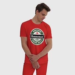 Пижама хлопковая мужская Hanneman цвета красный — фото 2