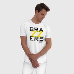 Пижама хлопковая мужская Brazzers Bros цвета белый — фото 2