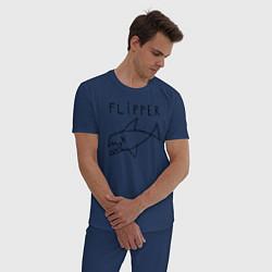 Пижама хлопковая мужская Flipper цвета тёмно-синий — фото 2