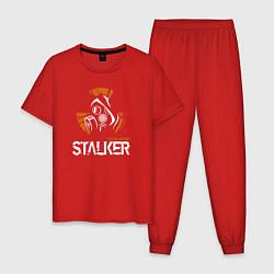 Пижама хлопковая мужская STALKER: Online цвета красный — фото 1