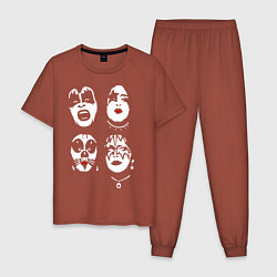 Пижама хлопковая мужская Kiss Faces цвета кирпичный — фото 1
