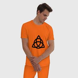 Пижама хлопковая мужская Зачарованные цвета оранжевый — фото 2