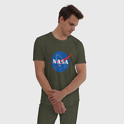 Пижама хлопковая мужская NASA: Logo цвета меланж-хаки — фото 2