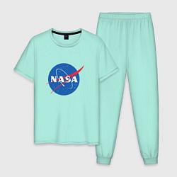 Пижама хлопковая мужская NASA: Logo цвета мятный — фото 1