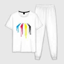 Пижама хлопковая мужская Abbey Road Colors цвета белый — фото 1