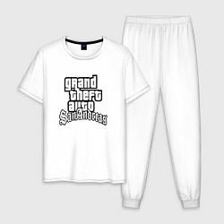 Пижама хлопковая мужская GTA San Andreas цвета белый — фото 1