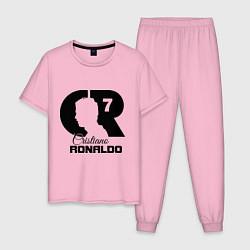 Пижама хлопковая мужская CR Ronaldo 07 цвета светло-розовый — фото 1