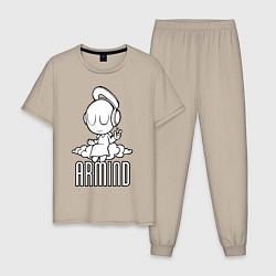 Пижама хлопковая мужская Armind цвета миндальный — фото 1