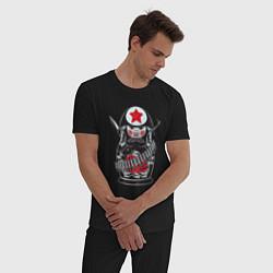 Пижама хлопковая мужская Русская матрешка цвета черный — фото 2