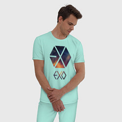 Пижама хлопковая мужская EXO цвета мятный — фото 2