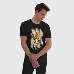 Пижама хлопковая мужская Герои Тарантино цвета черный — фото 2