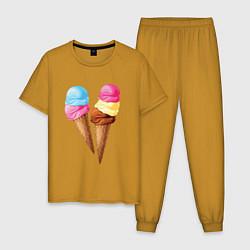 Пижама хлопковая мужская Мороженое цвета горчичный — фото 1
