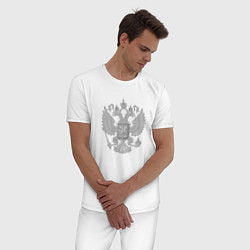 Пижама хлопковая мужская Герб России цвета белый — фото 2