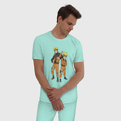 Пижама хлопковая мужская Наруто цвета мятный — фото 2