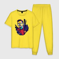 Пижама хлопковая мужская Messi Art цвета желтый — фото 1