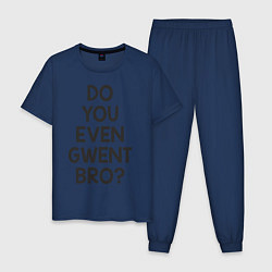 Пижама хлопковая мужская DO YOU EVEN GWENT BRO? цвета тёмно-синий — фото 1