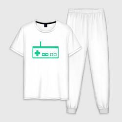 Пижама хлопковая мужская GamePad Nintendo classic цвета белый — фото 1