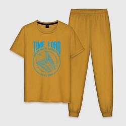 Пижама хлопковая мужская Time Lord: 23-11-1963 цвета горчичный — фото 1