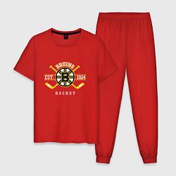 Пижама хлопковая мужская Bruins цвета красный — фото 1