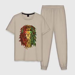 Пижама хлопковая мужская Rasta Lion цвета миндальный — фото 1