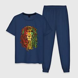 Пижама хлопковая мужская Rasta Lion цвета тёмно-синий — фото 1