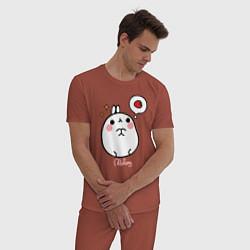 Пижама хлопковая мужская Кролик Моланг с клубникой цвета кирпичный — фото 2