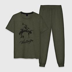 Пижама хлопковая мужская Wrestling цвета меланж-хаки — фото 1
