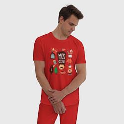 Пижама хлопковая мужская Moscow Pack цвета красный — фото 2