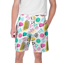 Шорты на шнурке мужские Поп-арт цвета 3D — фото 1