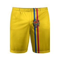 Шорты спортивные мужские Молдавия: лента с гербом цвета 3D-принт — фото 1