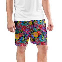 Шорты спортивные мужские Яркие цветы цвета 3D — фото 2