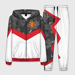 Костюм мужской Man United FC: Grey Polygons цвета 3D-красный — фото 1