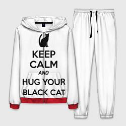 Костюм мужской Обними своего черного кота цвета 3D-красный — фото 1