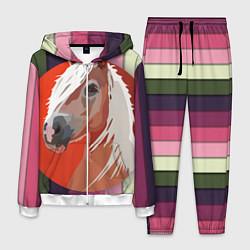 Костюм мужской Лошадь с фоном цвета 3D-белый — фото 1