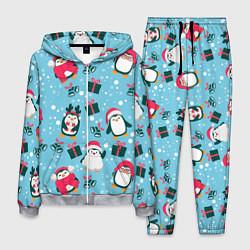 Костюм мужской Новогодние Пингвины цвета 3D-меланж — фото 1