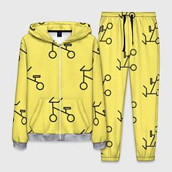 Костюм мужской Велосипеды на желтом цвета 3D-меланж — фото 1