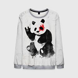 Свитшот мужской Рок-панда цвета 3D-меланж — фото 1