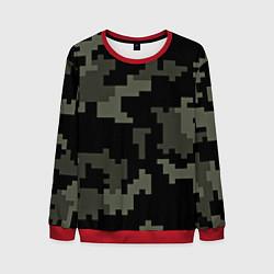 Свитшот мужской Камуфляж пиксельный: черный/серый цвета 3D-красный — фото 1