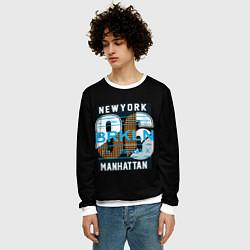 Свитшот мужской New York: Manhattan 86 цвета 3D-белый — фото 2