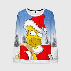 Свитшот мужской Санта Гомер цвета 3D-белый — фото 1