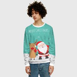 Свитшот мужской Merry Christmas цвета 3D-белый — фото 2