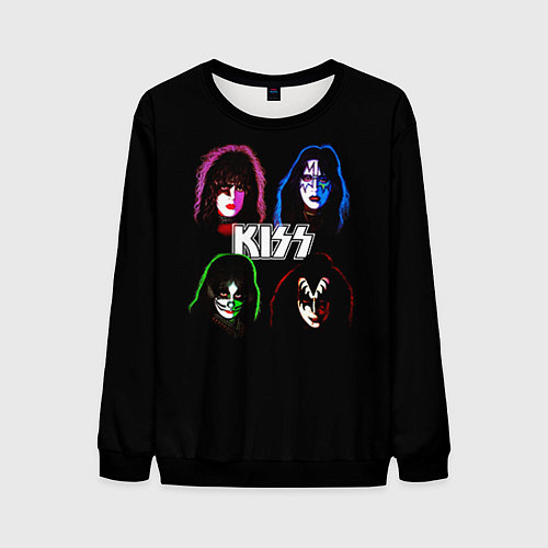 Мужской свитшот KISS: Acid Colours / 3D-Черный – фото 1