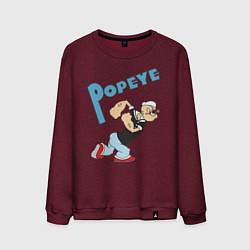 Свитшот хлопковый мужской Popeye цвета меланж-бордовый — фото 1