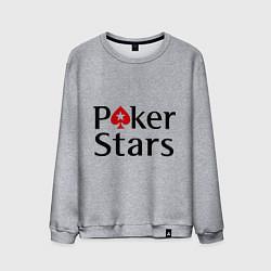Свитшот хлопковый мужской Poker Stars цвета меланж — фото 1