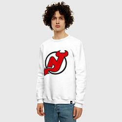 Свитшот хлопковый мужской New Jersey Devils цвета белый — фото 2