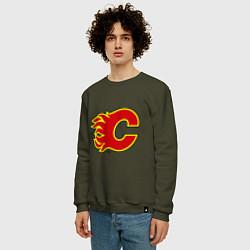 Свитшот хлопковый мужской Calgary Flames цвета хаки — фото 2