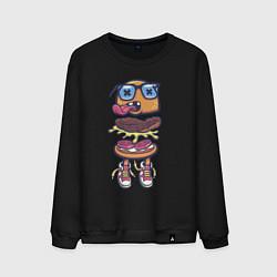 Свитшот хлопковый мужской Гамбургер цвета черный — фото 1